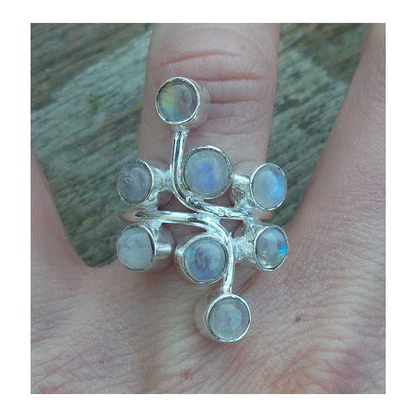 Silver ring set with round cabochon Moonstones 17 mm