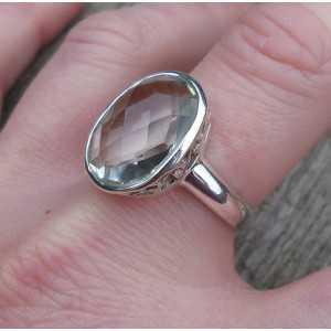 Zilveren ring gezet met ovale facet groene Amethist 19 mm