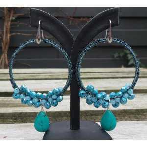 Zilveren oorbellen met Turkoois briolet en kristallen