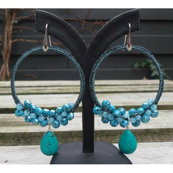 Silber Ohrringe mit Türkis briolet und crystal