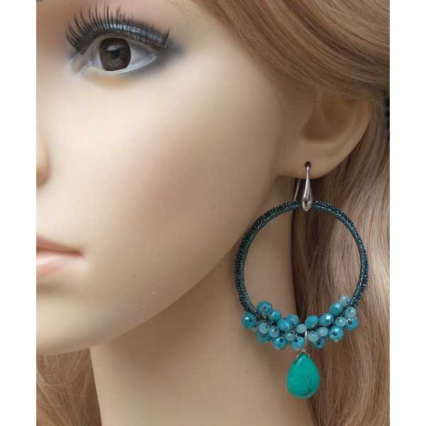 Silver earrings with Turquoise briolet and crystal