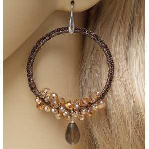 Zilveren oorbellen Smokey Topaas en hanger van zijdedraad en kristallen