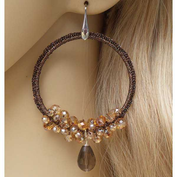 Silver earrings, Smokey Topaz and pendant of silk thread and crystals