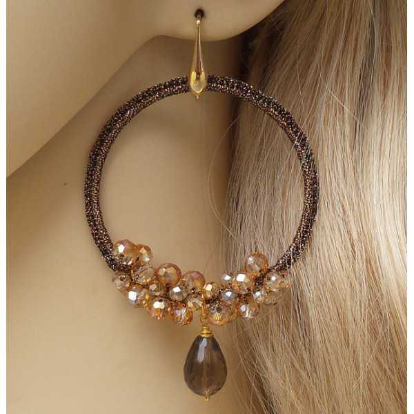 Gold plated earrings Smokey Topaz and pendant of silk thread and crystals