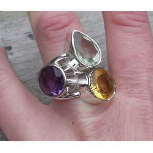 Silver ring set with Amethyst, Citrine and green Amethyst 18 mm