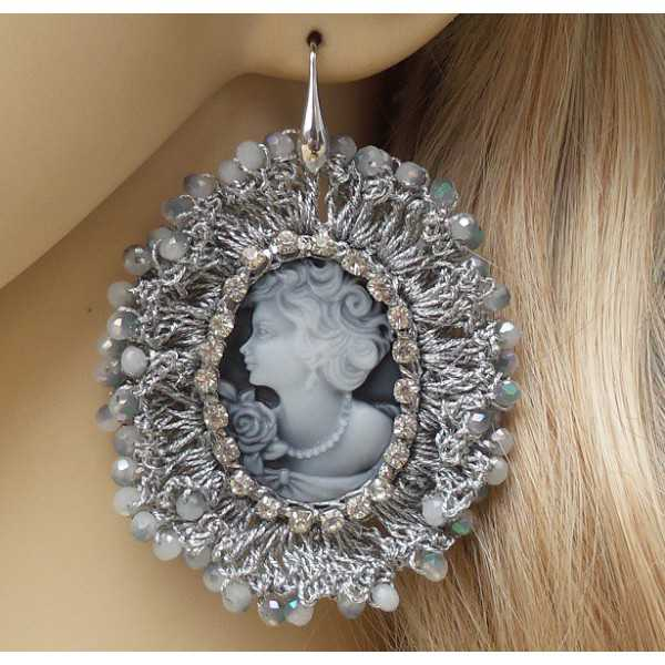 Silver earrings with cameo pendant of silk thread and crystals