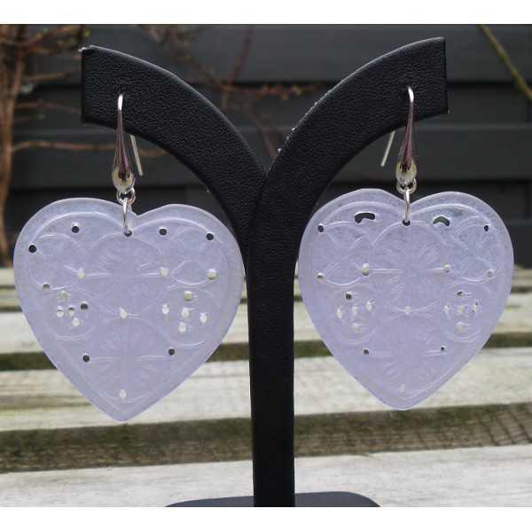 Ohrringe Silber mit Lavendel Jade geschnitzt Herz