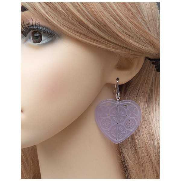 Ohrringe mit Lavendel Jade geschnitzt Herz
