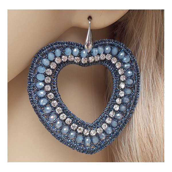 Silver earrings with hearts of silk thread and crystals