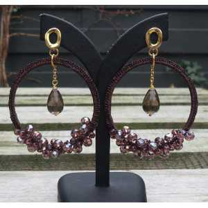 Gold-plated earrings, earrings from silk thread and crystals and Smokey Topaz