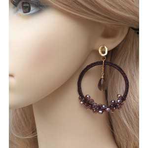 Vergulde oorbellen hanger van zijdedraad en kristallen en Smokey Topaas