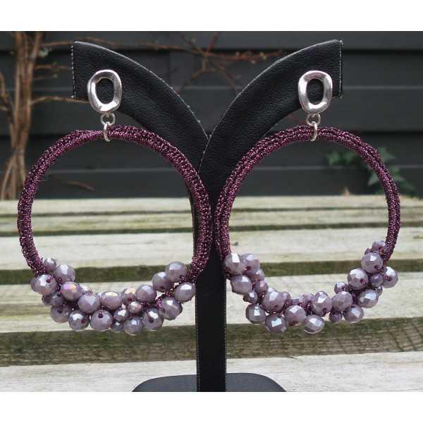 Silber-Ohrringe mit Anhänger von seidenen Faden und Kristallen