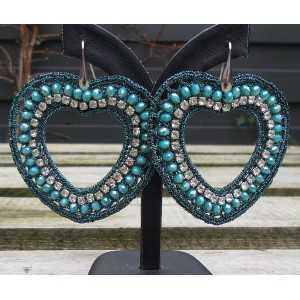 Ohrringe Herzen von Seidenfaden und crystal blau /grün