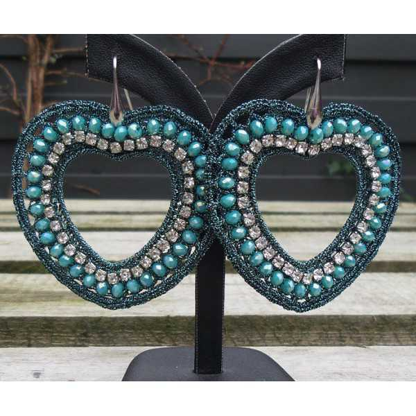 Earrings hearts of silk thread and crystal blue /green