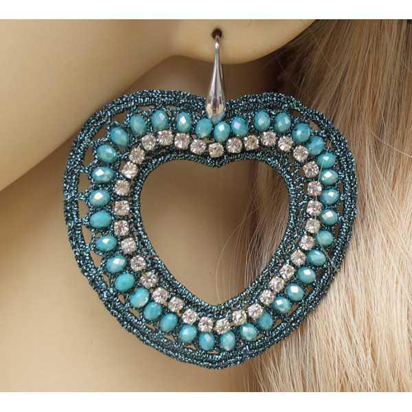 Zilveren oorbellen harten van zijdedraad en kristallen blauw /groen