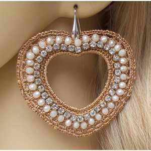 Silber Ohrringe Herz mit seidenen Faden und Kristallen von Lachs-farbige