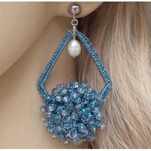Zilveren oorbellen hanger van zijdedraad en kristallen en Parel