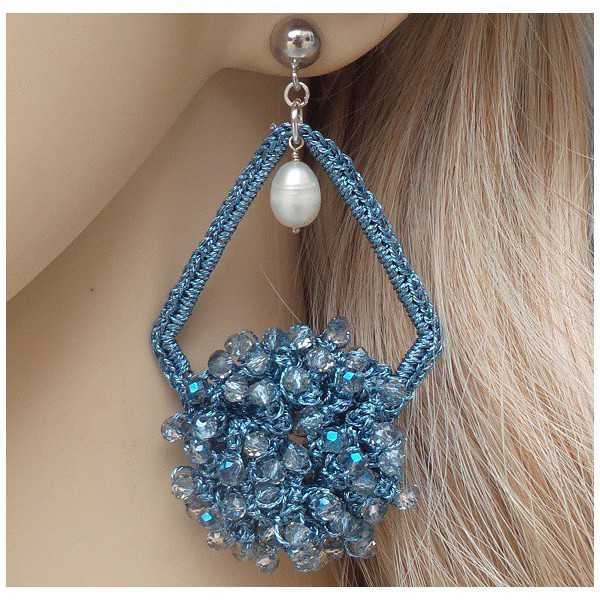 Silver earrings, earrings from silk thread and crystal and Pearl