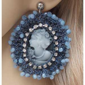 Silber Ohrringe mit cameo Anhänger der Seidenfaden und crystal blue