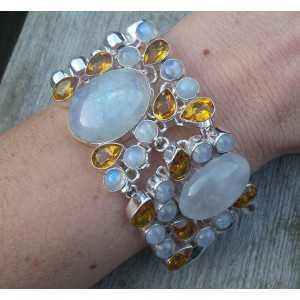 Zilveren armband met Citrien en cabochon Maanstenen
