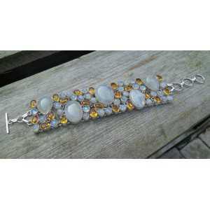 Silber Armband mit Citrin und cabochon Mondsteine