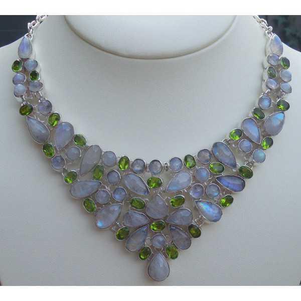 Silber Halskette-set mit Peridot und Regenbogen Mondstein