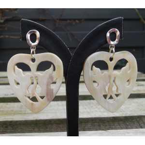 Silber Ohrringe mit Herz mit Tauben Büffelhorn