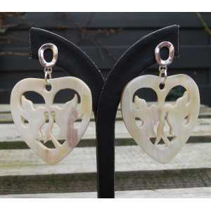Silver earrings with hearts with doves of buffalo horn
