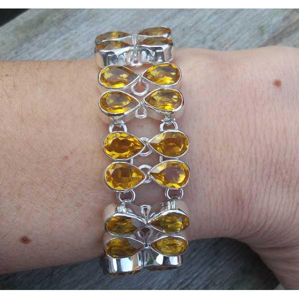 Silber Armband-set mit tropfenförmigen Citrin