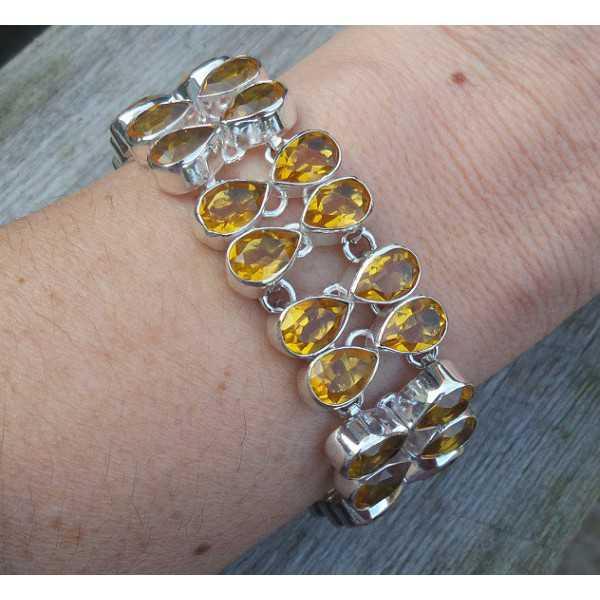 Silver bracelet set with teardrop shaped Citrine
