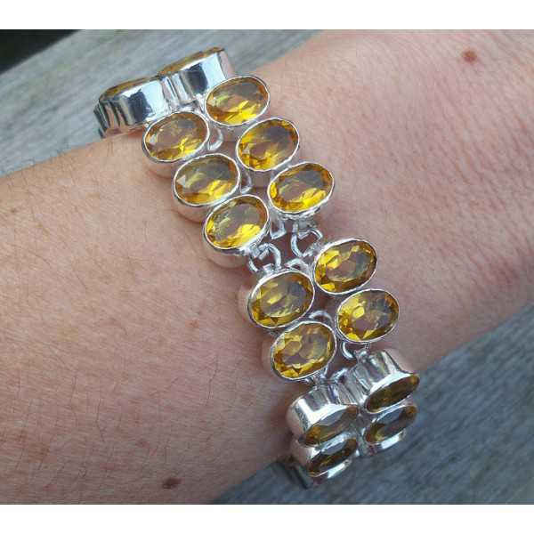 Silber Armband mit zwei Reihen von ovalen Citrin