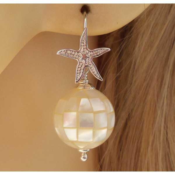 Silber Ohrringe mit Kugeln aus Mosaik-Perlmutt