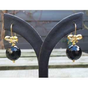 Vergulde oorbellen met ronde facet zwarte Onyx