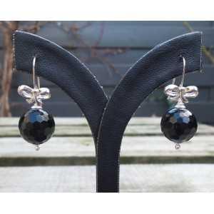 Silber Ohrringe mit Runden facettierten schwarzen Onyx