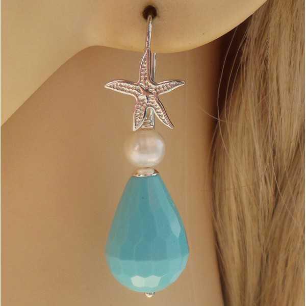Silber Ohrringe mit Türkis und Perle
