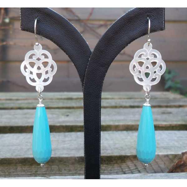 Silber Ohrringe mit geschnitzten Mutter der Perle und Türkis briolet
