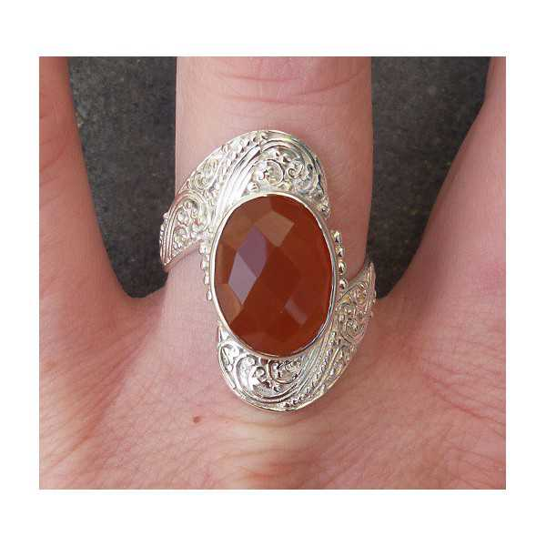 Silver ring set with oval faceted Carnelian 19 mm