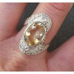 Silver ring set with oval Citrine size 19 or 19.7 mm