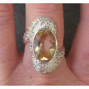 Silver ring set with oval Citrine size 19.7 mm