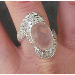 Silber ring set mit oval facet cut rose quartz