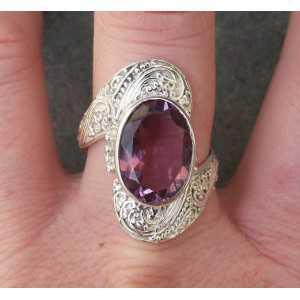 Zilveren ring gezet met ovale Amethist 19.7 mm