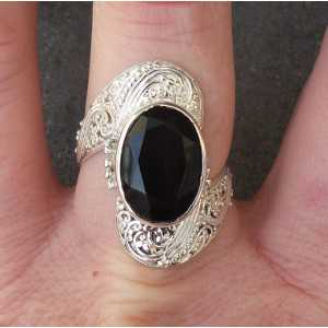 Silber ring set mit oval facet cut Onyx 18 mm