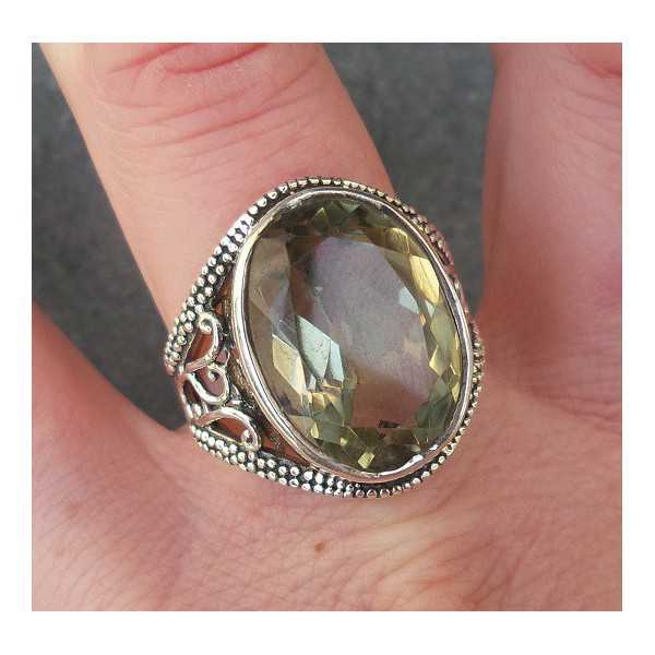 Silver ring set with oval green Amethyst 18.5 mm