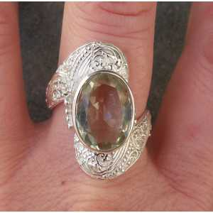 Silver ring set with green Amethyst ring size 19.7 mm