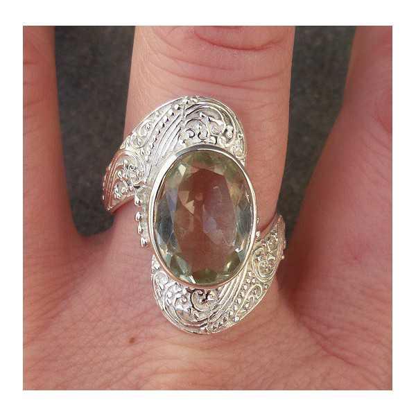 Silber ring besetzt mit grüne Amethyst ring Größe 19.7 mm