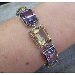 Silver bracelet set with Amethisten and Citrine