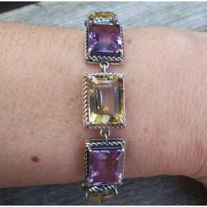 Silber Armband-set mit Amethisten und Citrin
