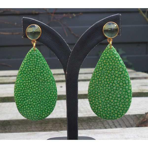 Vergoldete Ohrringe Tropfen grün Roggenleer und grüner Amethyst