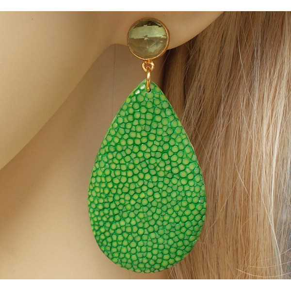 Gold-plated earrings drop of green Roggenleer and green Amethyst