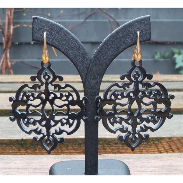 Earrings with carved black buffalo horn 04